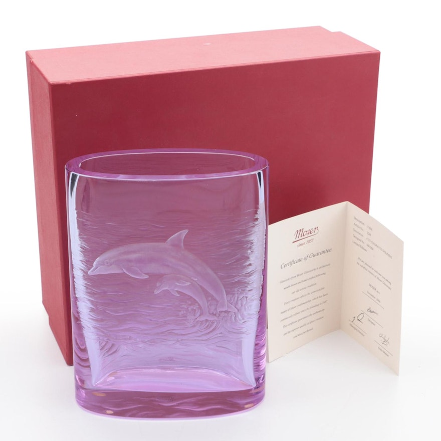 Moser Amethyst Glass Vase with Cut and Engraved Dolphins, 2006