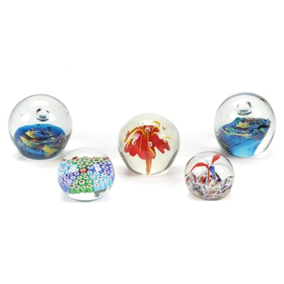 Handblown Millefiori, Controlled Bubble and Other Art Glass Paperweights