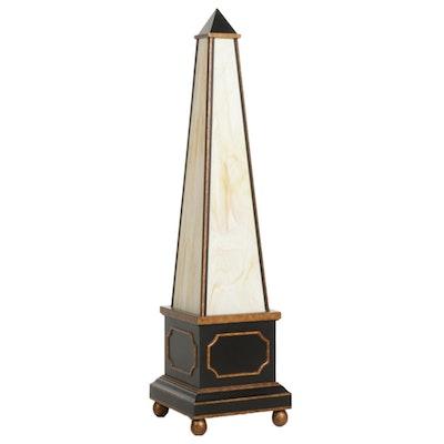 Obelisk Form Slag Glass Floor Lamp