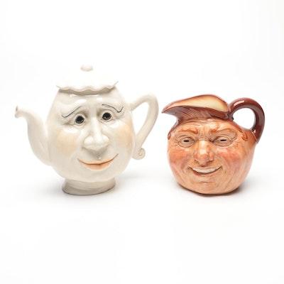 "Royal Doulton Ceramic Teapot with ""John Barleycorn"" Pitcher, Late 20th C."