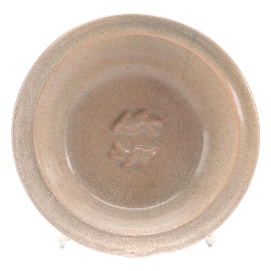 Chinese Longquan Celadon Style Twin Fish Ceramic Bowl