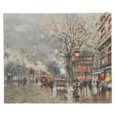 """Antoine Blanchard Oil Painting """"Théâtre du Châtelet, Quai de Gesvres"""""""