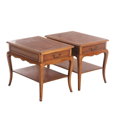 Pair of Hekman French Provincial Style Single-Drawer End Tables