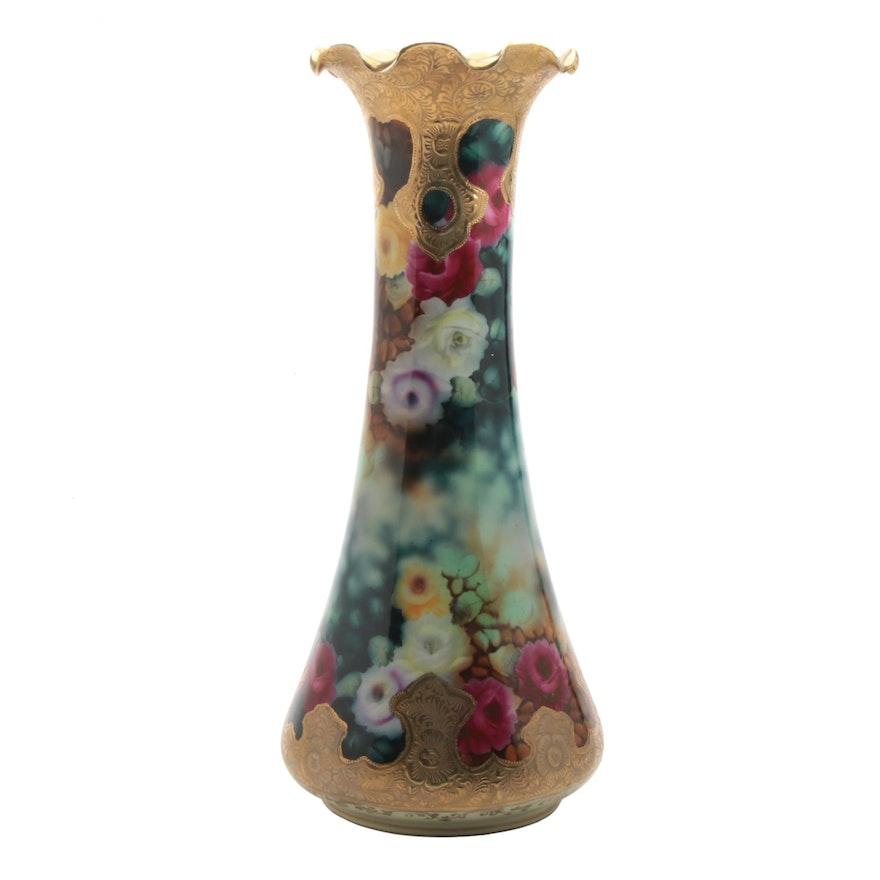 Floral Transfer Porcelain Vase