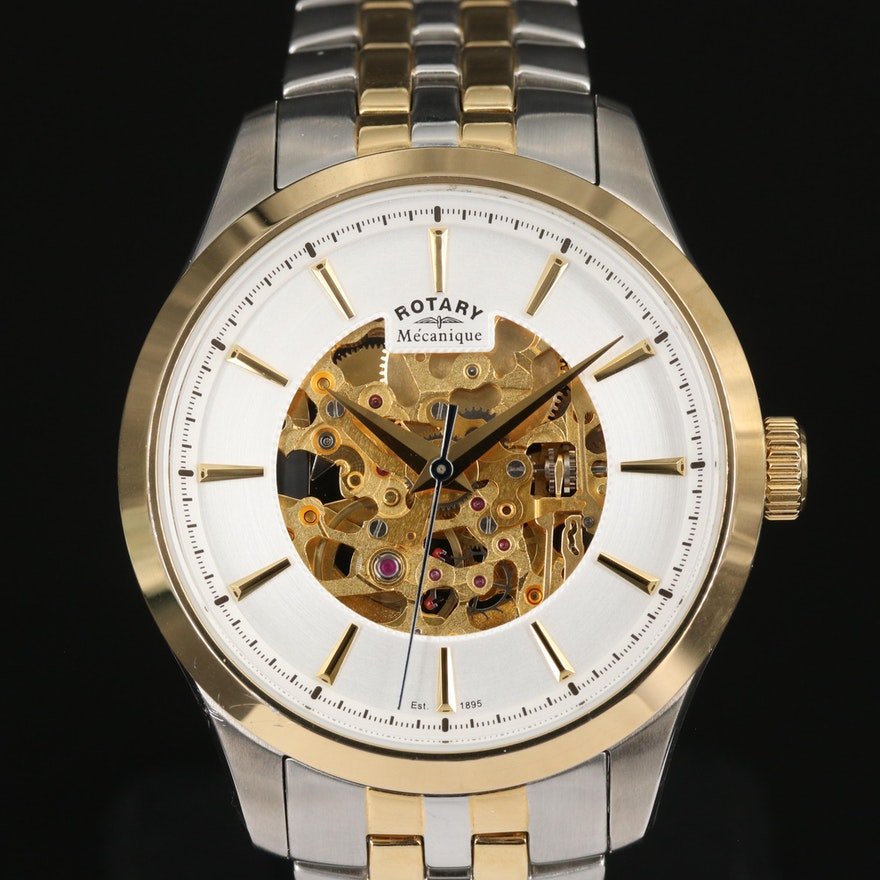 Rotary Skeleton Two Tone Automatic Wristwatch