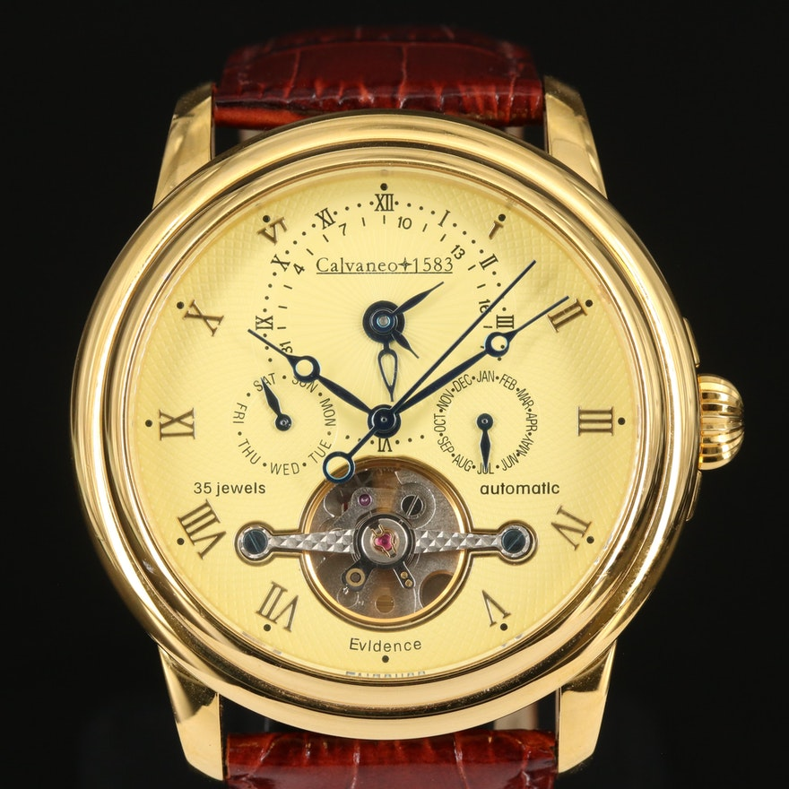 Calvaneo 1583 Evidence Dual Time Gold Tone Automatic Wristwatch