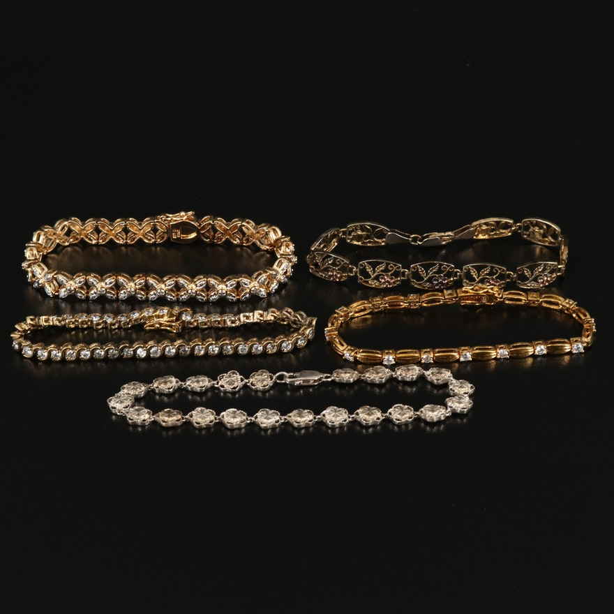 Sterling Bracelets Including Diamond and Cubic Zirconia
