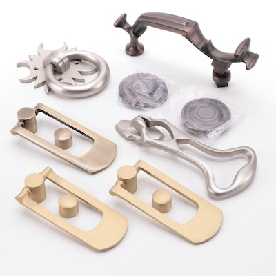 Solid Brass Door Knockers in Brushed Nickel, Oil Rubbed Bronze, Other Finishes
