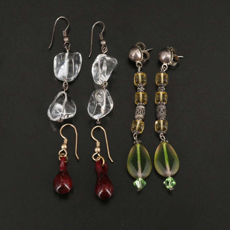 Earrings Featuring Rock Crystal Quartz and Sterling