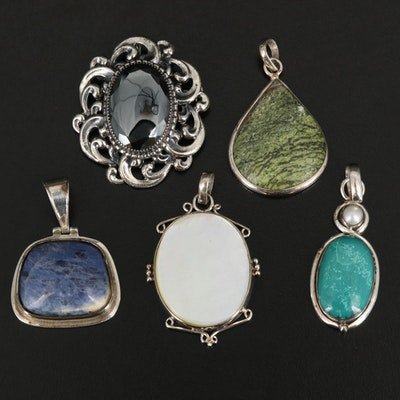 Sterling Gemstone Pendants Including Turquoise and Danecraft Converter Brooch