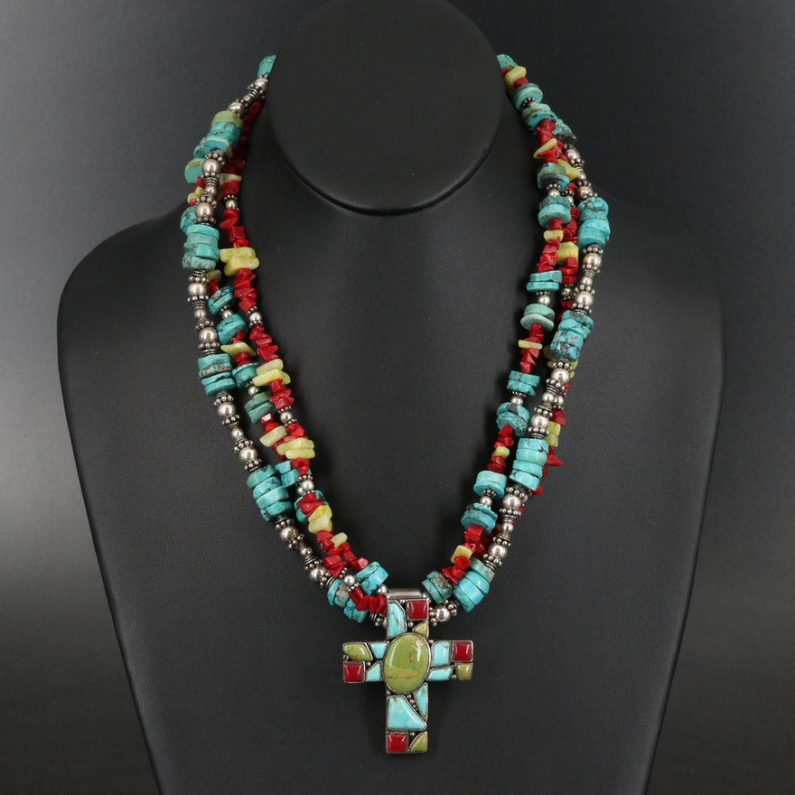 Sterling Cross Pendant Necklace Including Turquoise and Coral