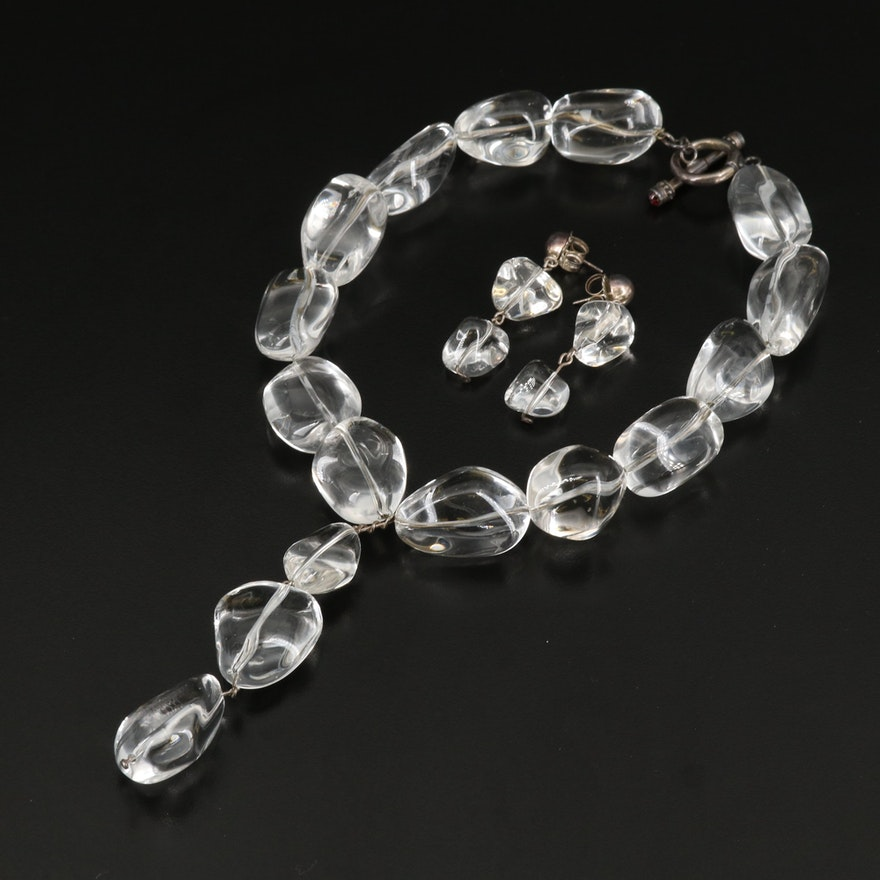 Sterling Rock Quartz Crystal Y Necklace and Earring Set