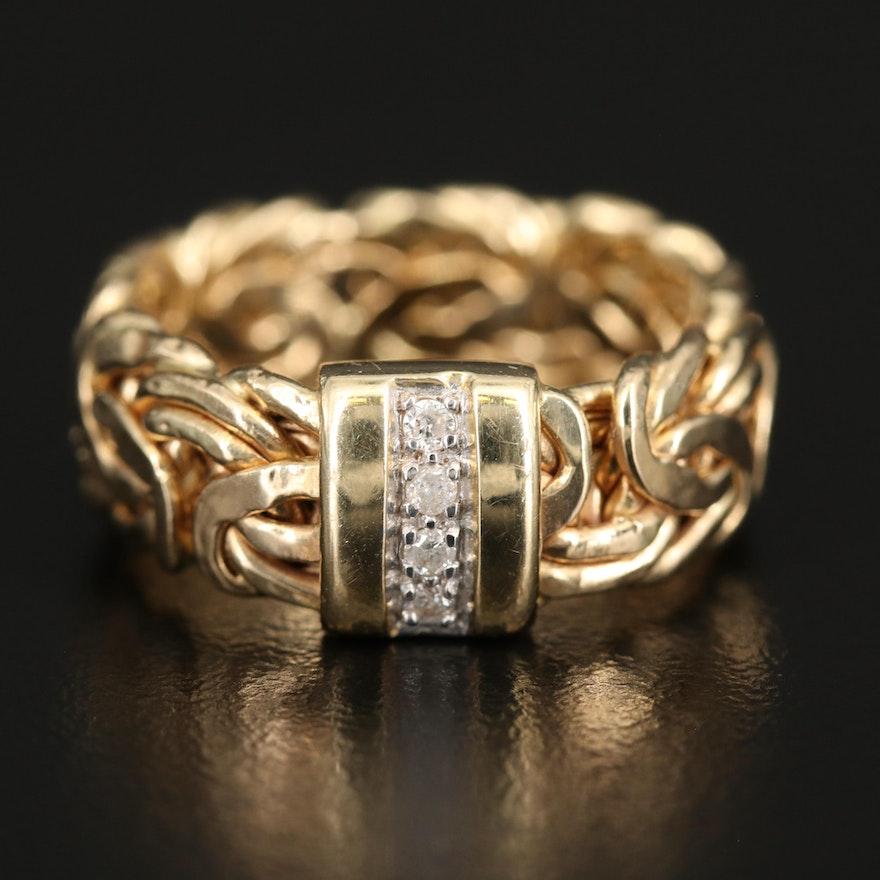 Turkish 14K Diamond Ring with Byzantine Chain Shank