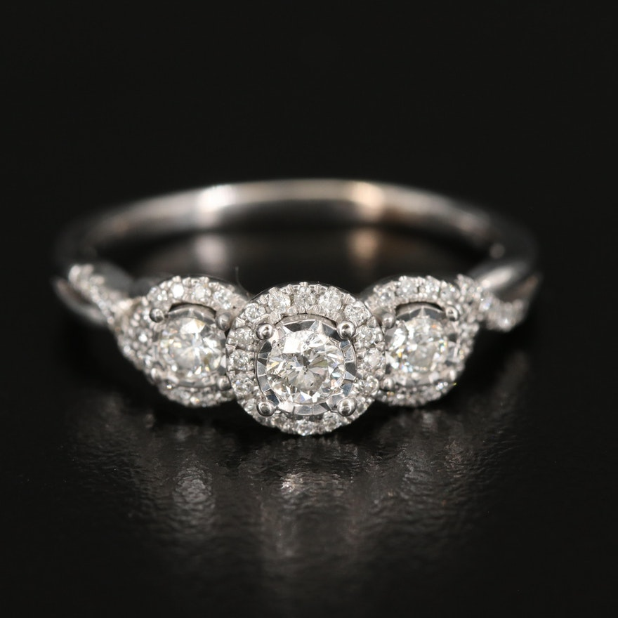 10K Diamond Halo Ring with Twisted Shoulders