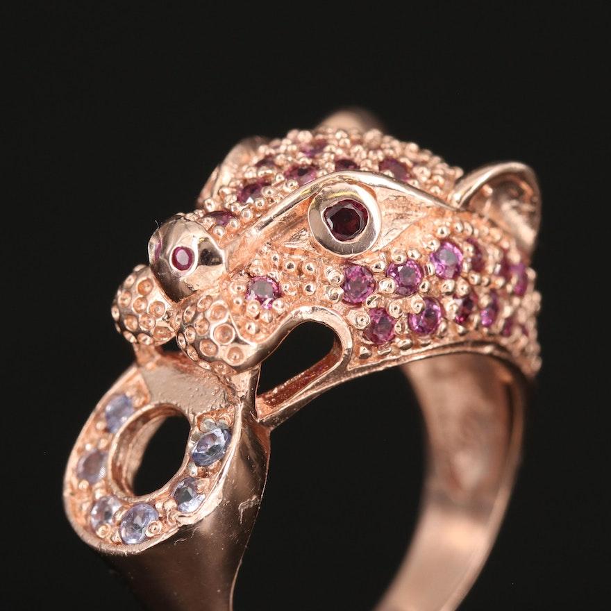 Sterling Feline Door Knocker Ring with Garnet, Tanzanite and Ruby
