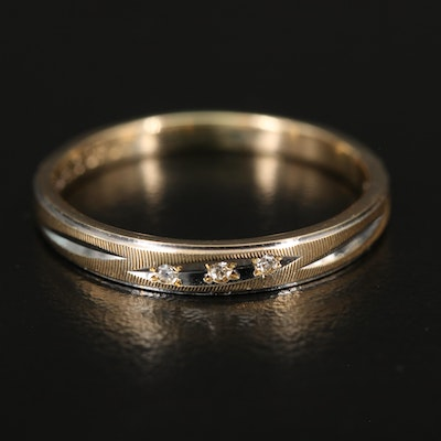 14K Diamond Band with Textured Detail