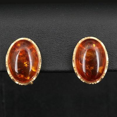 14K Oval Amber Cabochon Earrings