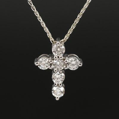 14K Diamond Cross on Italian Wheat Chain Necklace