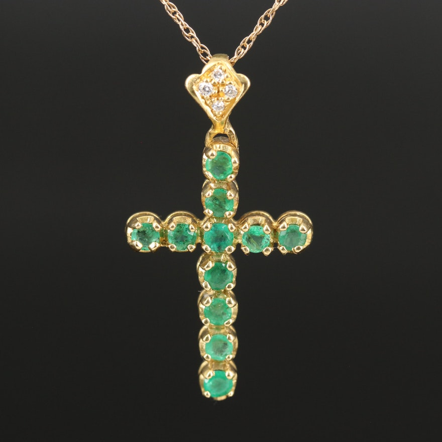 18K Emerald and Diamond Cross Pendant nn 14K Chain