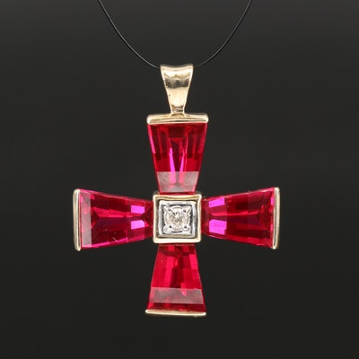 10K Diamond and Ruby Pendant