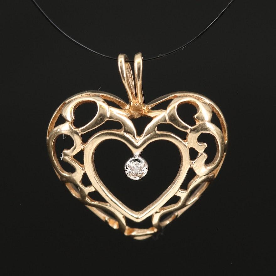 10K Diamond Scrollwork Heart Pendant