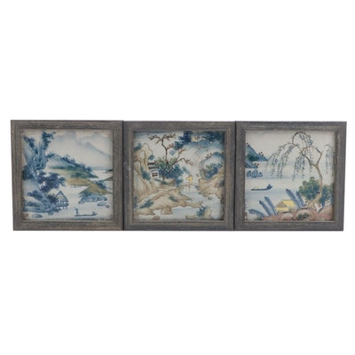Chinese Style Hand-Painted Porcelain Plaques