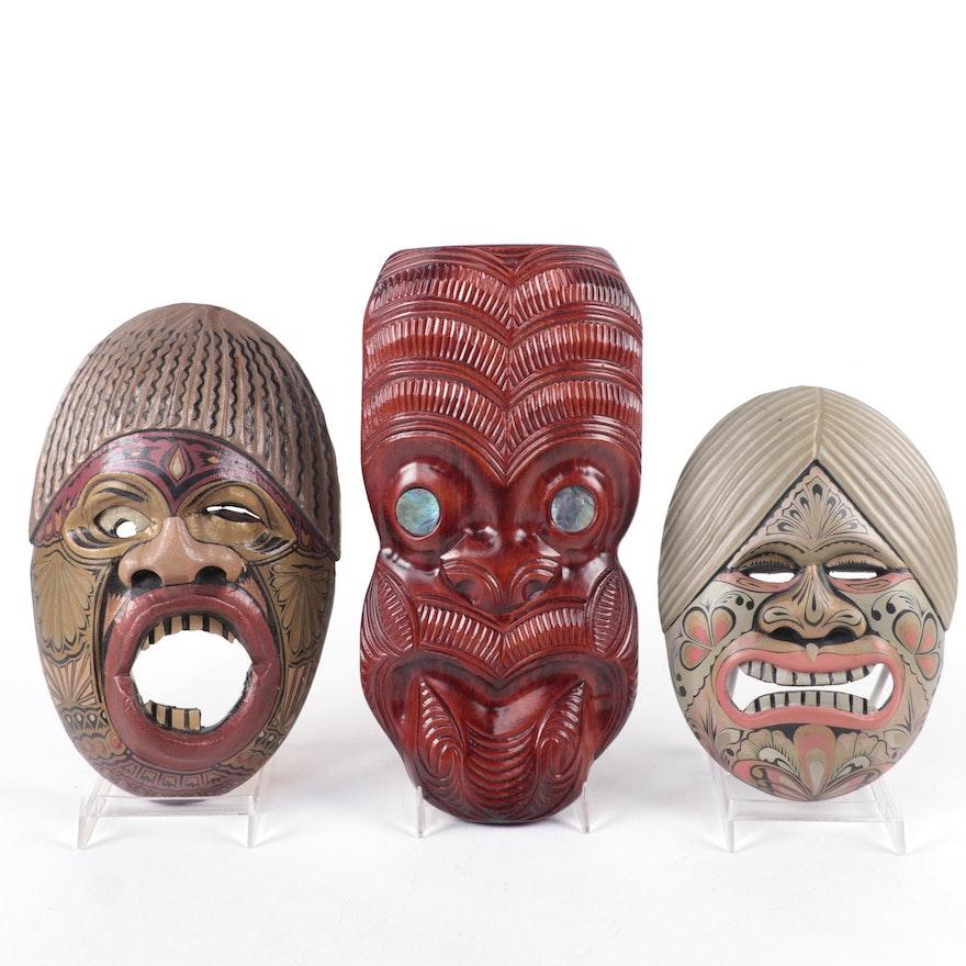 Maori Style Abalone Inlaid Wood Wheku and Aruban Masks