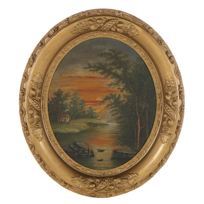 Landscape Oil Painting of River and Sunset, Early to Mid-20th Century