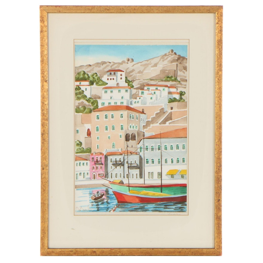 M. Michel Watercolor Painting of European Coastal City, Late 20th Century