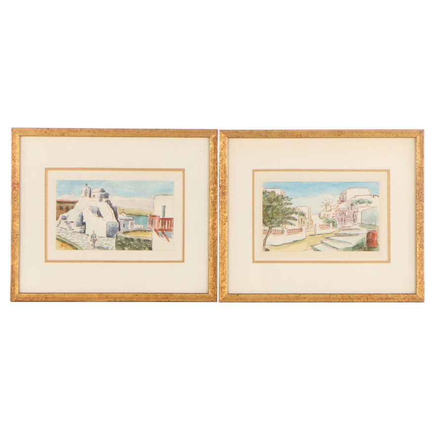 Cityscape Watercolor Paintings, Late 20th Century