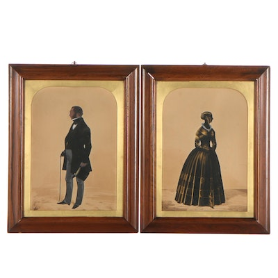 Embellished Silhouette Cut-Outs of Gentleman and Lady, 1849