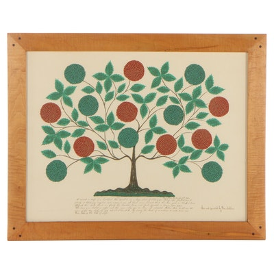 """Serigraph After Hannah Cohoon """"Tree of Life,"""" Mid to Late 20th Century"""
