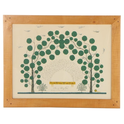 """Serigraph After Hannah Cohoon """"A Bower of Mulberry Trees,"""" 20th Century"""