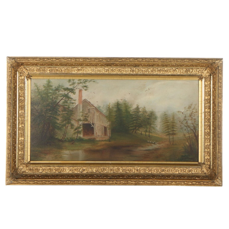 Landscape Oil Painting With House, Late 19th Century