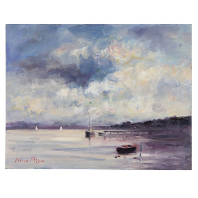 "Nino Pippa Oil Painting ""Provence - Sailing the Rhone,"" 2019"