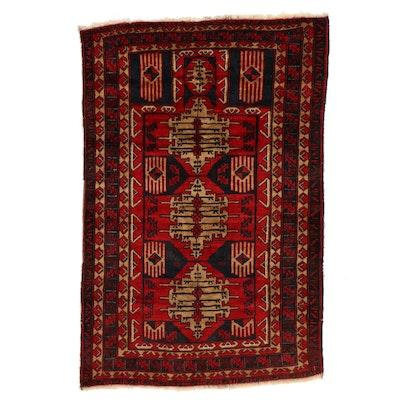 3'5 x 5'1 Hand-Knotted Afghan Geometric Prayer Rug
