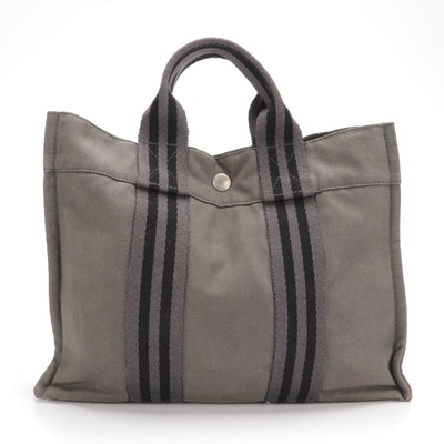 Hermès Fourre Tout PM in Grey and Black Canvas