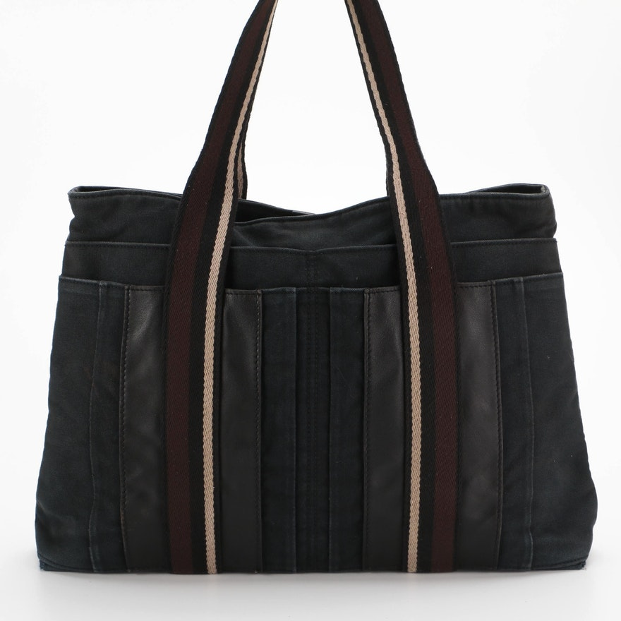 Hermès Troca Tote in Black Canvas with Leather Trim
