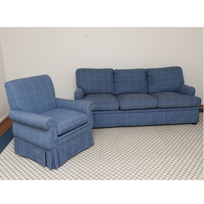Custom Blue Denim Upholstered Sofa and Armchair with Down Seats