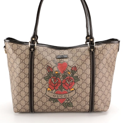 Gucci Tattoo Heart Tote in GG Supreme Canvas and Brown Smooth Leather