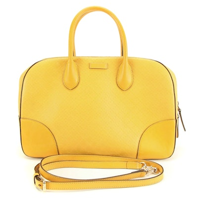 Gucci Diamante Satchel in Yellow Smooth and Textured Leather