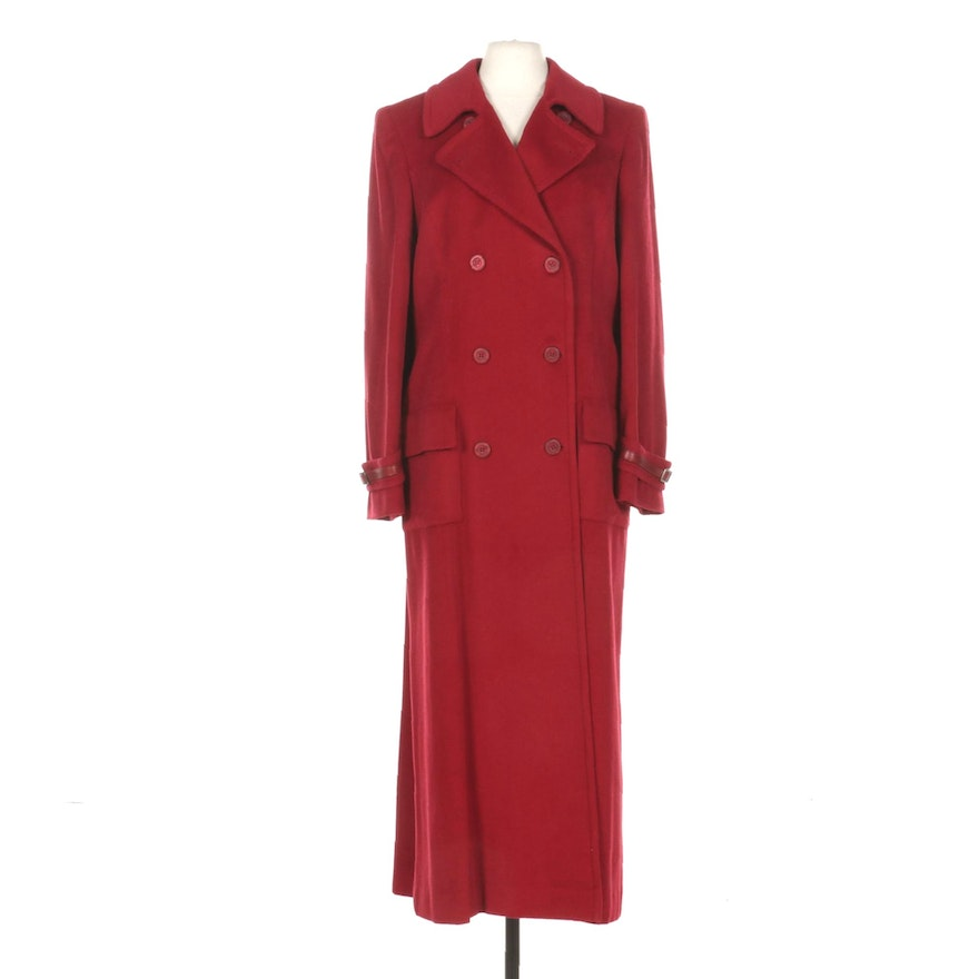 Marisa Minicucci Red Wool Blend Double-Breasted Coat