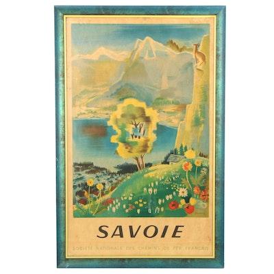 """Société Nationale des Chemins de fer Français Lithograph Poster """"Savoie"""""""
