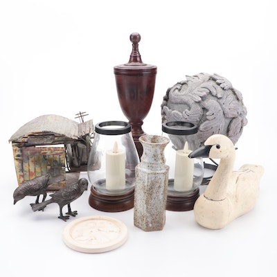 Copper Music Box Airport with Bird Figurines, Candle Holders, and More Decor