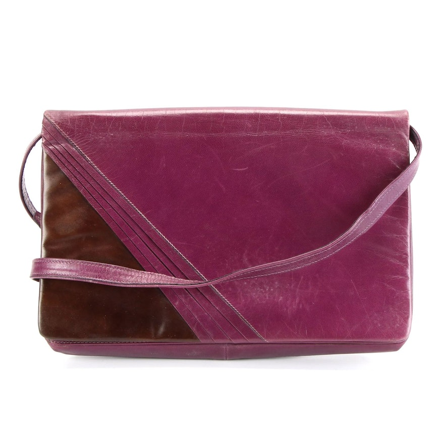 Bruno Magli Front Flap Crossbody Bag in Purple and Brown Pleated Leather