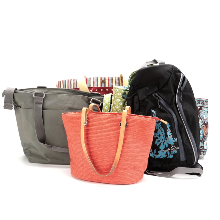 Eddie Bauer Sling Bag with Vera Bradley, Harrods, Baggallini and Talbots Totes