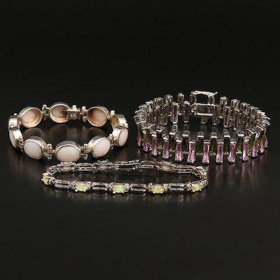 Sterling Opal Doublet, Diamond and Gemstone Link Bracelets