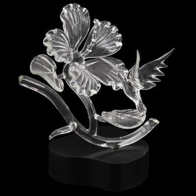 "Hans Godo Fräbel Studio ""Hummingbird on Hibiscus"" Art Glass Sculpture"