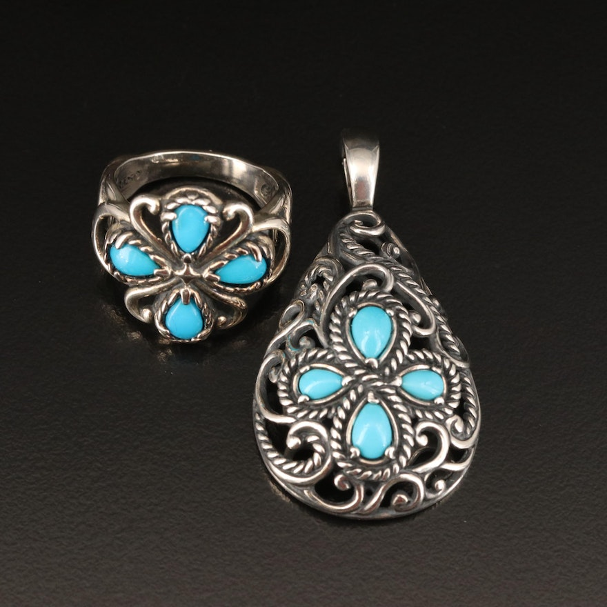 Carolyn Pollack for Relios Sterling Turquoise Enhancer Pendant and Ring Set