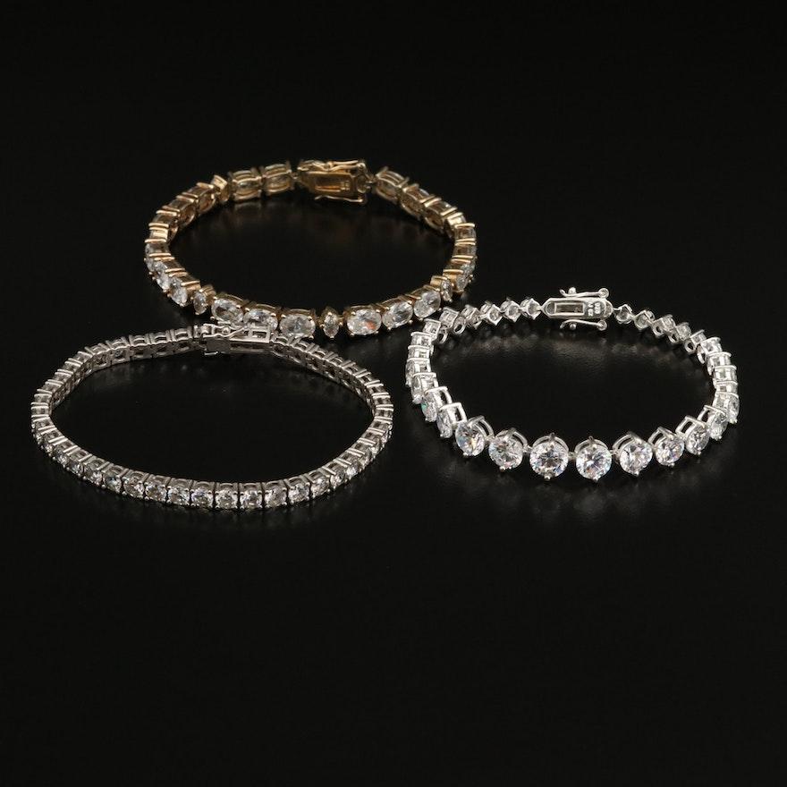 Sterling Cubic Zirconia Line Bracelets